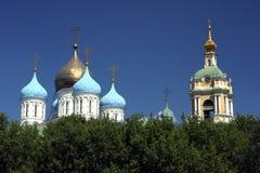 在森林后的葱圆顶在莫斯科 免版税库存图片