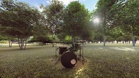 在森林正面图的布莱克的鼓成套工具 皇族释放例证