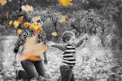 在森林母亲的秋天和儿子沉溺,投掷叶子。 库存照片