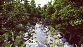 在森林河老鹰景色的许多石头 向量例证