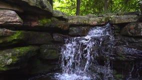 在森林流动的水的瀑布在大岩石 自然河瀑布 股票录像