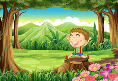 在森林的一个树桩有一个逗人喜爱的小男孩的 免版税库存图片