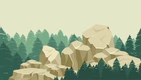 在森林的大岩石 库存例证