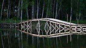 在森林的湖的桥梁 免版税库存图片
