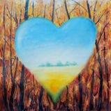 在森林的背景,希望,爱的抽象心脏 免版税图库摄影