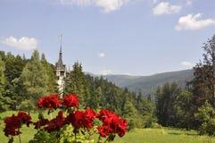 在森林的边缘的皇家Peles城堡从锡纳亚的在罗马尼亚 免版税库存照片