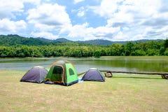 在森林采取野营与家庭的帐篷 免版税库存图片