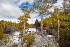 在森林里供以人员走到湖 免版税库存图片