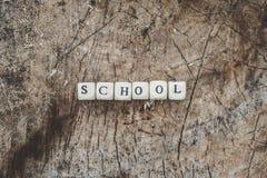 在森林里措辞字母表小珠学校树桩表面上的 库存照片
