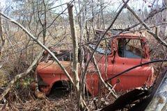 在森林里放弃的一辆老红色卡车在冬季侧视图期间 免版税库存照片