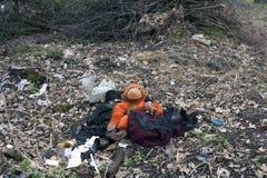 在森林里的被烧的垃圾 库存图片