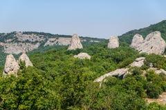 在森林里编组在山的岩石su的寺庙 免版税库存图片