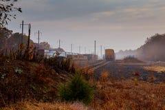 在森林里铺铁路在一有雾的秋天天 免版税库存照片