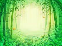 在森林里面的绿色竹树 库存例证