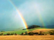 在森林附近的双重彩虹 免版税库存图片