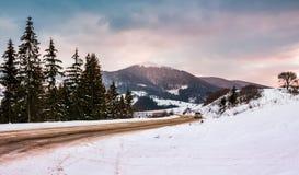 在森林附近的路周转多雪的山的 免版税库存照片