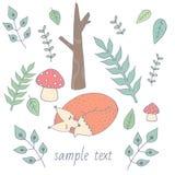 在森林贴纸,卡片,标签,明信片的逗人喜爱的狐狸睡眠 也corel凹道例证向量 图库摄影