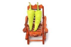 在椅子的甜青椒 库存照片