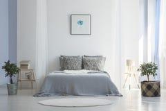 在植物之间的灰色床与po的白色简单的卧室内部的 库存照片