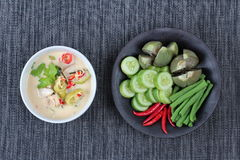 在椰奶电话& x22的被发酵的大豆豆; Toa Jiaw贷款J& x22;混杂的菜是供食的有机食品 免版税图库摄影