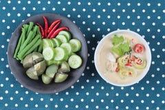 在椰奶电话& x22的被发酵的大豆豆; Toa Jiaw贷款J& x22;混杂的菜是供食的有机食品 库存照片