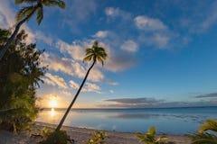 在椰子树的波里尼西亚海滩美妙的红色日落 图库摄影