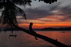 在椰子树阴影美好的日落的摇摆或摇篮吊与放松女孩坐树在酸值Mak海岛海滩传统的T的妇女 免版税图库摄影