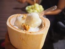在椰子的冰淇凌 库存照片
