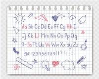 在概略样式的字母表与学校在习字簿板料乱画 免版税库存图片