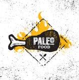 在概略的墙壁背景的Paleo食物的饮食最初营养有机健康的例证概念 声势浩大的传染媒介标志 皇族释放例证