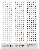 在概述、颜色和黑色做的300个传染媒介普遍象 库存图片