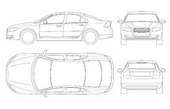 在概述的轿车汽车 企业轿车车在白色隔绝的模板传染媒介 观看前面,后方,旁边,上面 碱性 向量例证
