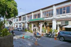 在槟榔岛佳能街,马来西亚的老建筑学样式大厦 免版税库存照片