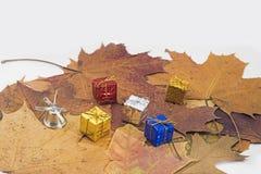 在槭树叶子的小装饰礼物 图库摄影