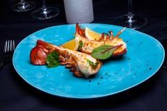 在槭树块菌调味汁的龙虾仁 免版税库存图片