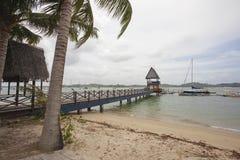 在樟宜点的码头与风船 免版税库存照片