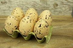 在模子的大,白色,有斑点的鸡蛋在木上面 库存图片