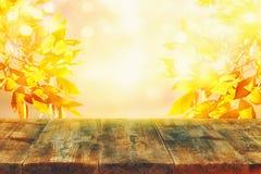 在模糊的秋天背景前面的空的桌 为产品显示蒙太奇准备 免版税库存图片