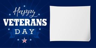 在横幅上写字的愉快的退伍军人日美国 库存照片
