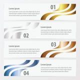 在横幅模板金子,古铜,银,蓝色col的设计4项目 库存例证