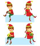 在横幅的圣诞节矮子 向量例证