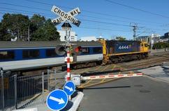在横穿铁路的MAXX火车在奥克兰新西兰 库存照片