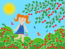 在樱桃树附近的小女孩在晴朗的夏日 免版税库存图片