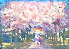 在樱花的Litle女孩 春天水彩例证 免版税库存照片