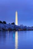 在樱花节日期间的华盛顿纪念碑在twilig 图库摄影