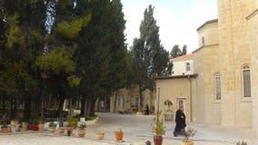 在橄榄山,Ascencion俄罗斯正教会,耶路撒冷,以色列的全景 免版税库存照片