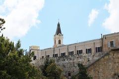 在橄榄山,Ascencion俄罗斯正教会,耶路撒冷,以色列的全景 免版税库存图片