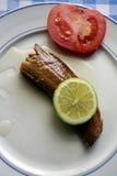 在橄榄油,克利特,希腊的熏制的鲭鱼内圆角 免版税库存照片