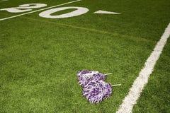 在橄榄球场的啦啦队欢呼大型机关炮 库存图片