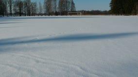 在橄榄球多雪的领域上的寄生虫飞行 影视素材
